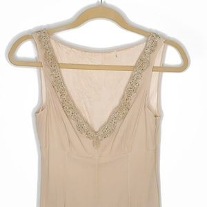 Tahari Silk Nude Beaded Shift Dress 6